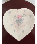 Vintage Mikasa Japan Bone China Heart Shape Candy Plate/Dish forget me n... - $34.64