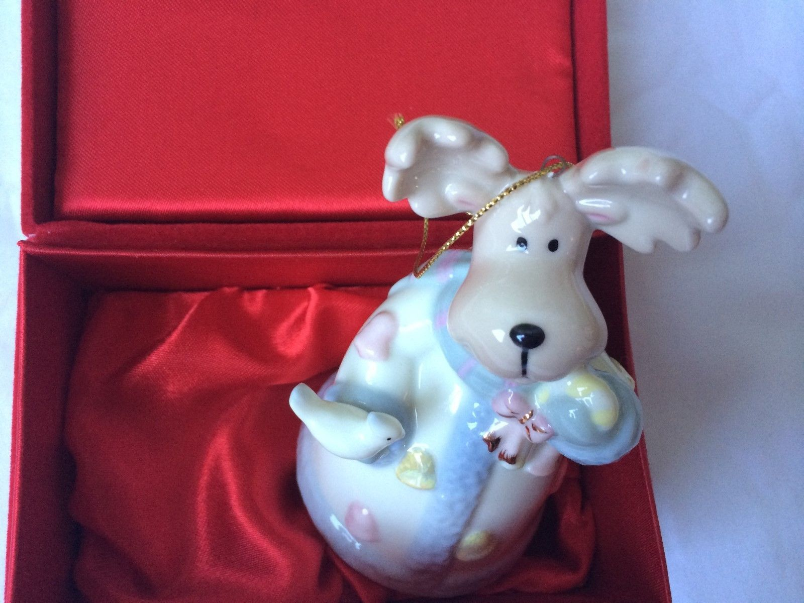 Primary image for Formalities by Baum Brothers Christmas Ornament Moose Bell Ceramic In Red Velvet