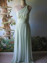Donna Morgan Pastel Green Evening Gown Dress One Shoulder Ruched Bodice 6 New - $118.79