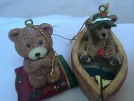 Mount Dora Florida Lot of 2 Bears Ornaments Praying Bear & Fishing Bear - $11.83