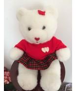 "Cuddle Wit Teddy Bear Plush 17"" Stuffed Animal White in Christmas Dress  - $28.71"