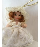 DG Creations Porcelain Doll in Lace Dress Ornament Hand Pinted Eurpean S... - $13.86