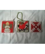"Handmade Vintage Yarn Cross Stitch Christmas Ornaments Lot of 3 ""Christm... - $13.86"