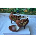 Michael Kors Brown Leather Gold Logo Buckle Heels Sandal Shoes SZ 10M New - $89.00