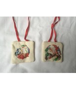 Vintage Finished / Completed Handmade Cross Stitch Christmas Ornament Lo... - $9.90