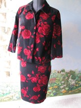 Talbots Black and Red Floral Velvet women Skirt Suit SZ 6/8 NWT MSRP $109 - $48.64