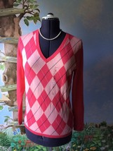 Tommy Hilfiger  Pink Argyle V-neck Sweater Top Blouse SZ L NWT - $49.49