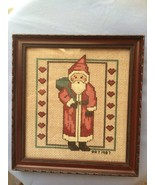 Vintage Finished / Completed Handmade Cross Stitch Santa In His Red Coat... - $19.99