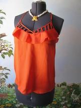 Rebecca Minkoff Orange Ruffle Alissa Cami Blouse Top SZ 6 NWT MSRP $198 - $79.19