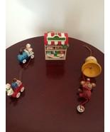 Christmas Handmade Wooden Mini Ornaments Hand Set of 2 & Plastic Toy Shop - $14.80