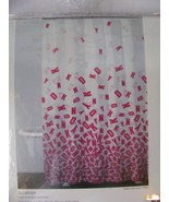 DKNY ART DECO Cotton Shower Curtain White/Pink Colors New - $39.59