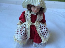 "Santa's World Kurt S. Adler Handcrafted 5"" Porcelain Girl Doll Ornament Red - $19.75"