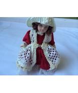 """Santa's World Kurt S. Adler Handcrafted 5"""" Porcelain Girl Doll Ornament Red - $19.75"""