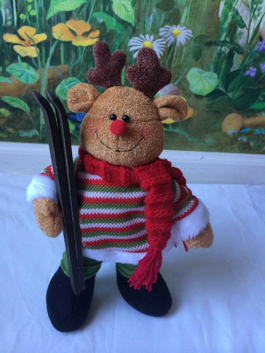 Primary image for Plush Christmas Moose with Skis Stands over 13 Inches Tall
