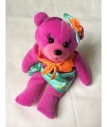 "Caribbean Doll Co. Purple Plush  Bear in Blue Skirt St Thomas USUVI 8""  - $10.88"