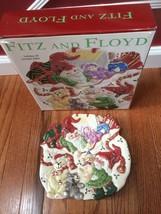 "Fitz and Floyd Essential Christmas Holiday Elf Canape 9"" Plate NIB - $44.55"