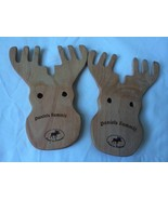 Hand Crafted Wooden Moose Antler Pair of Salad Servers Pasta Salad New - $29.65