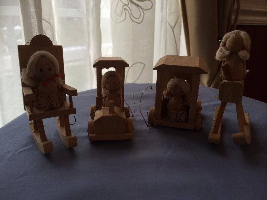 Primary image for Vintage Christmas Ornament Lot of 4 Wood Girls in Rocking Chairs Cars