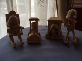 Vintage Christmas Ornament Lot of 4 Wood Girls in Rocking Chairs Cars - $48.51