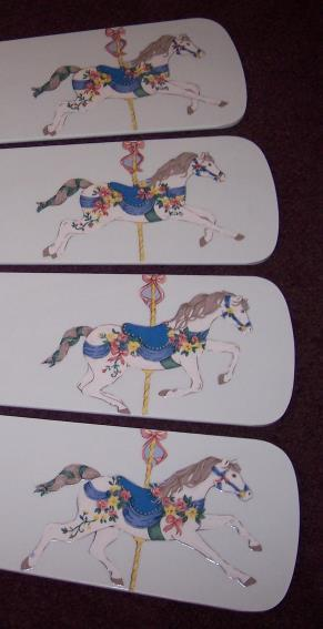 Primary image for CUSTOM ~CEILING FAN WITH DECORATED CAROUSEL HORSE MOTIF ~LAST ONE LEFT!