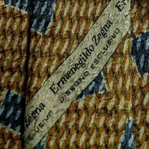 Gold Blue Abstract ZEGNA Silk Tie - $14.99