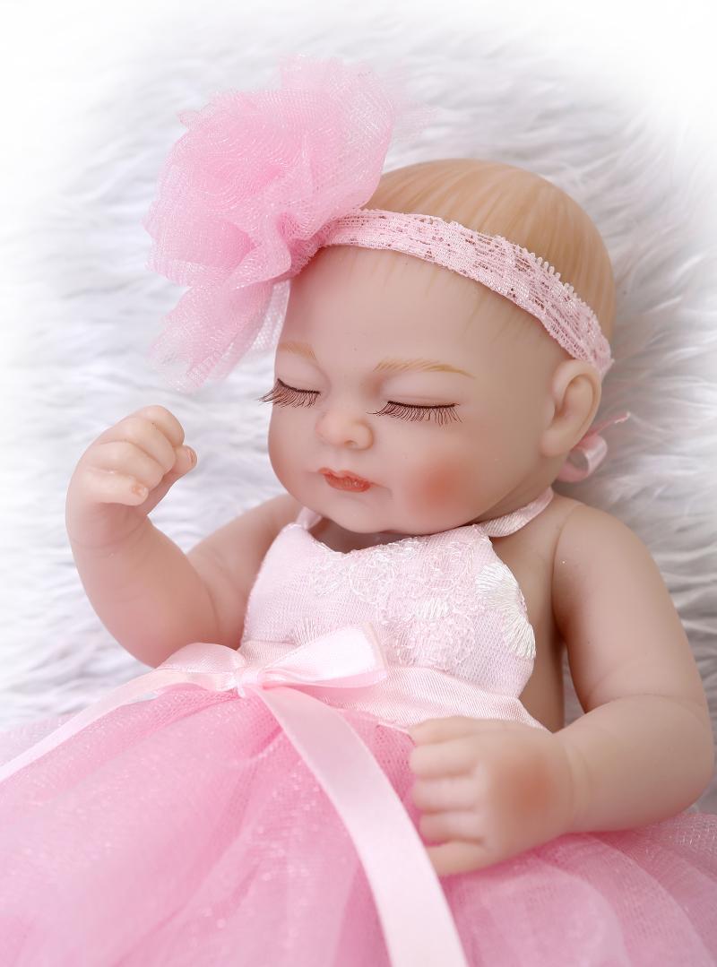 "10"" Real Life Sleeping Newborn Girl Doll Mini Reborn Baby ..."