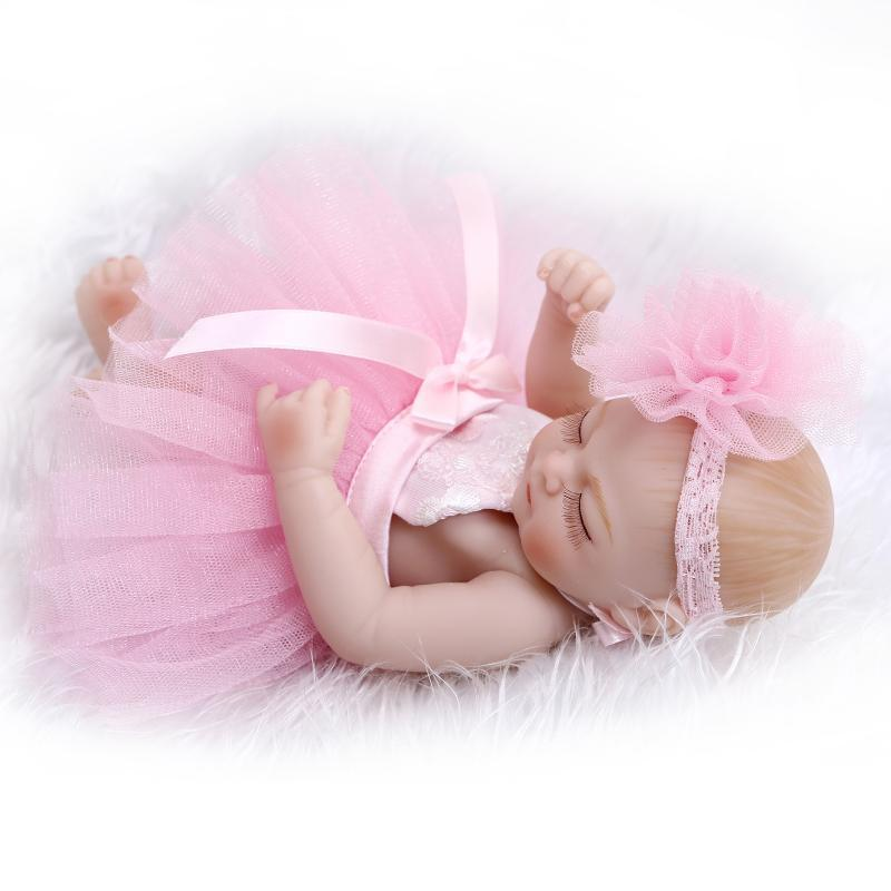 "10"" Real Life Sleeping Newborn Girl Doll Mini Reborn Baby ..."