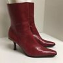 Nine West RED Heels Boots Leather Size 7.5 M Shoes - $27.69