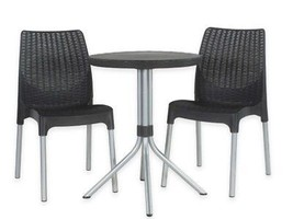 Keter® Chelsea 3-Piece Rattan Patio Bistro Set in Dark Grey - $280.50