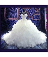 Regency Cathedral Train Ruffled Organza Beaded Lace Up Back Mermaid Wedd... - $409.95
