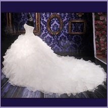 Regency Cathedral Train Ruffled Organza Beaded Lace Up Back Mermaid Wedding Gown image 2