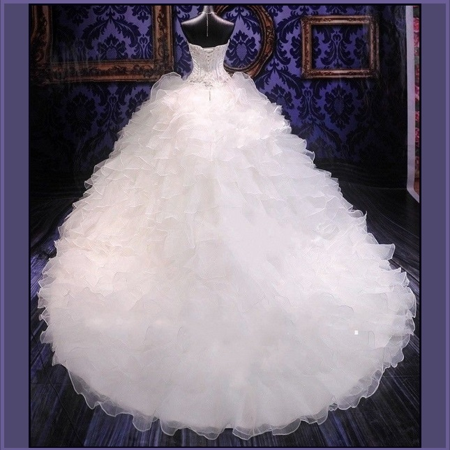 Regency Cathedral Train Ruffled Organza Beaded Lace Up Back Mermaid Wedding Gown