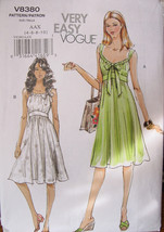 Vogue Pattern 8380 Sizes 4,6,8,10, Summer Baby Doll Dresses - Very Easy to Make - $11.99