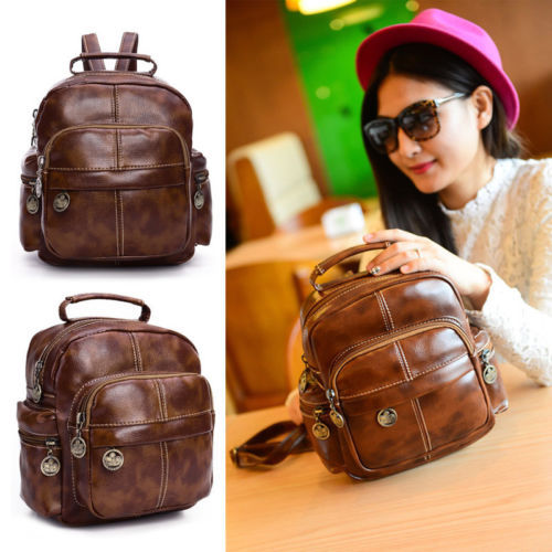 Fashion Women's Leather Backpack Handbag Travel Rucksack Shoulder School Bag