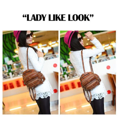 Fashion Women's Leather Backpack Handbag Travel Rucksack Shoulder School Bag image 2