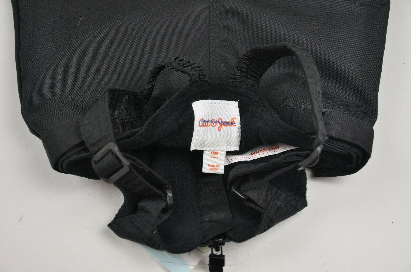 New CAT & JACK Black Insulated SNOWSUIT Bibs OVERALLS Winter SNOW Infant Sz 18M
