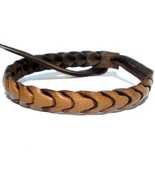 THIN HAND MADE BROWN REAL LEATHER FRIENDSHIP BRACELET WRISTBAND TIE ADJU... - $6.93