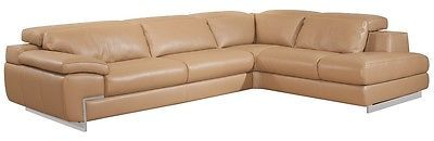 J&M Oregon II Mouton Full Top Grain Leather Italian Sectional Sofa Modern Right