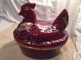 Vintage Hull Pottery USA Brown Drip Large Hen C... - $89.05
