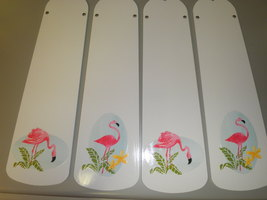 CUSTOM- PINK FLAMINGO TROPICAL SUNSET CEILING FAN w/ LIGHT GREAT FOR FLO... - $99.99