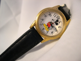 """C08, Mickey Mouse Watch by Lorus, Gold Tone, 8"""" Blk. Leather Band, V501 ... - $29.79"""