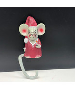 Vintage Merry Christmas stocking hanger holiday decor 1984 Mouse Mice ca... - $21.78