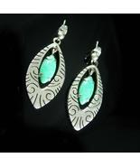 Vintage sterling earrings Peking glass hoop earrings teardrop 925 silver... - $75.00