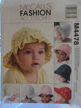 McCall's M4478 (8) Infant Summer Sun Hats in five sizes dated 2004, New - $5.75