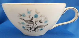 Meito Orleans Tea Cup Turquoise Floral w Gray Band Platinum 6 oz - $9.90
