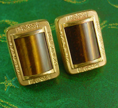 1880s Victorian Tigereye Cufflinks Antique gold Collectors Sleeve Accessory  vin - $225.00