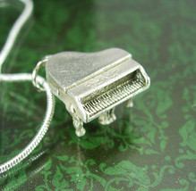 Sterling necklace Vintage Mechanical Grand Piano Charm Pendant silver Entertaine - $85.00