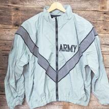 Gray IPFU Army Retro Windbreaker Jacket Reflective Embroidered Lined Pockets M - $24.74