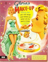 VINTAGE UNCUT 1950s GLORIA'S MAKE-UP PAPER DOLLS~#1 REPRODUCTION~8 PAGES... - $18.25