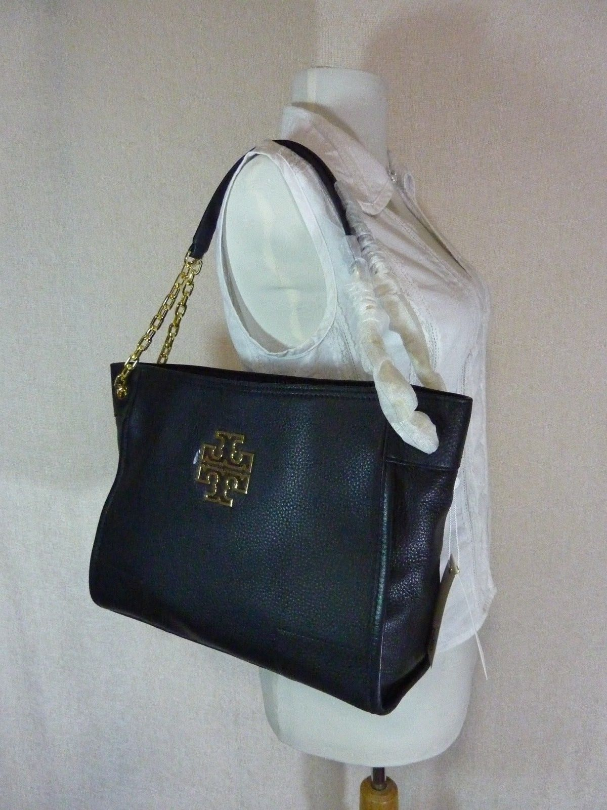 NWT Tory Burch Black Pebbled Leather Small Britten Slouchy Tote - $475